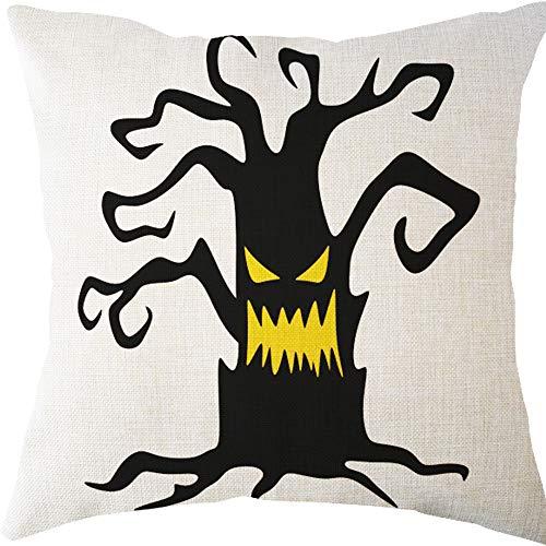 LOKODO Halloween Pillow Cases Linen Sofa Tree Cushion Cover Home Decor