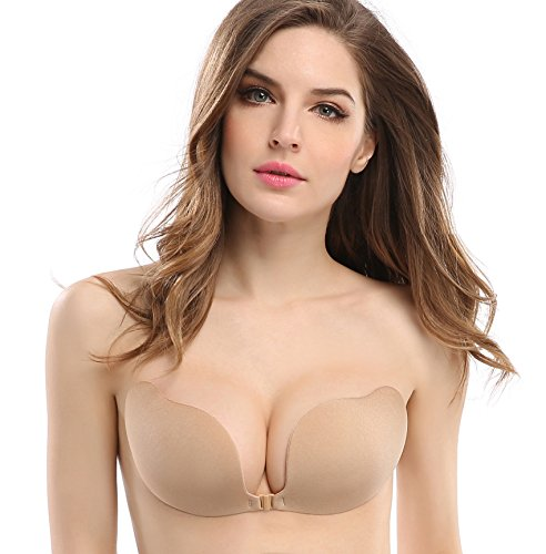 Plunge Style Push Up Bras (Deceny CB Invisible Bras Self Adhesive Bra Silicone Bra Push Up Strapless Bra (B, Nude))