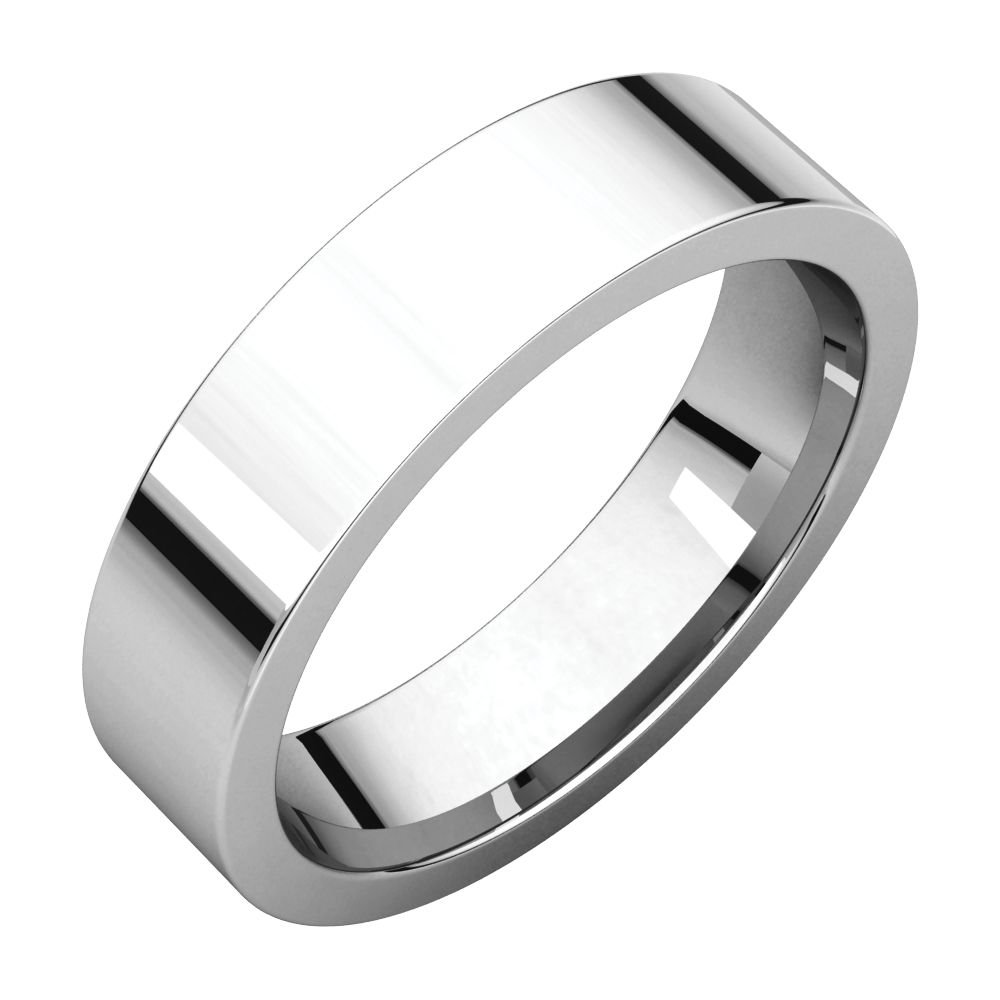 10K White 5mm Flat Comfort Fit Wedding Band