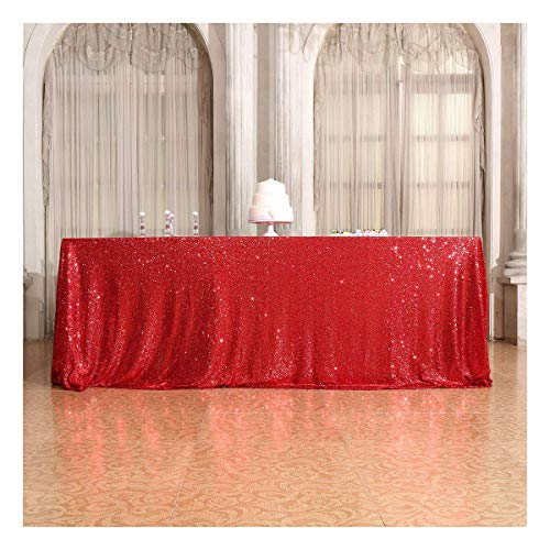 (Poise3EHome 50×72'' Rectangle Sequin Tablecloth for Party Cake Dessert Table Exhibition Events, Red)