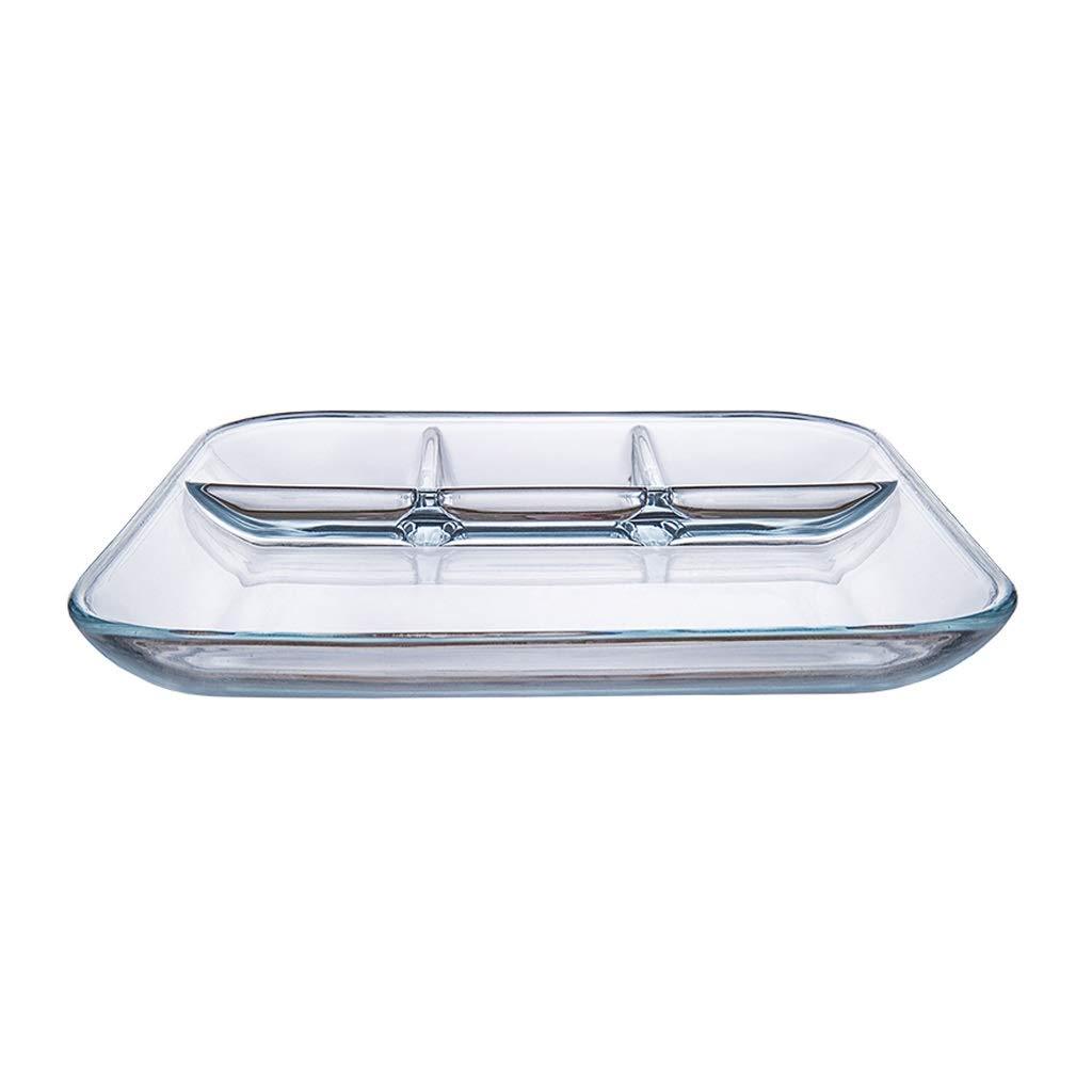 Sdvh フルーツプレート、ガラス分割プレートディップボウル北欧ファーストフードプレートディナープレート大容量朝食フルーツボウル (サイズ さいず : 25.2*2.8cm) 25.2*2.8cm  B07QRGB2BF