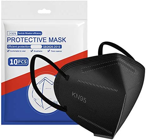 ApePal 5-Layer Disposable KN95 Face Masks Wide Elastic Ear Loops Safety Face Mask,Black,10 PCS/Pack