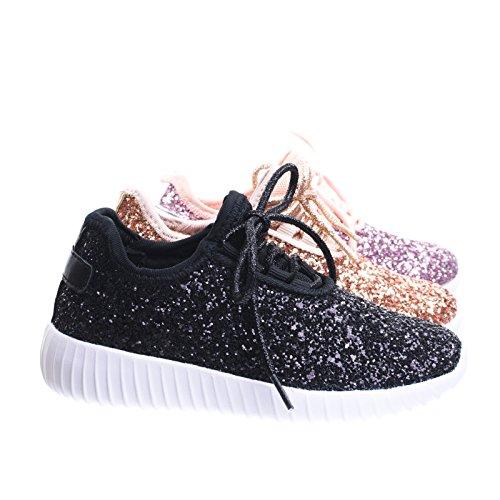 Link Lace up Rock Glitter Fashion Sneaker for Children/Girl/Kids Black Size 4