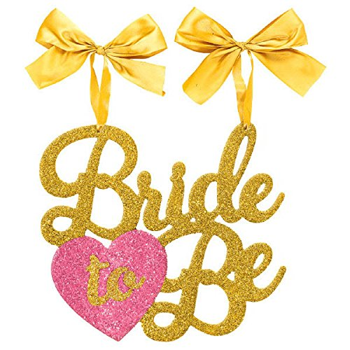 Amscan Wedding Accessory and Decoration Elegant Bride-to-Be Chair Sign Gold (Bride Hanging)