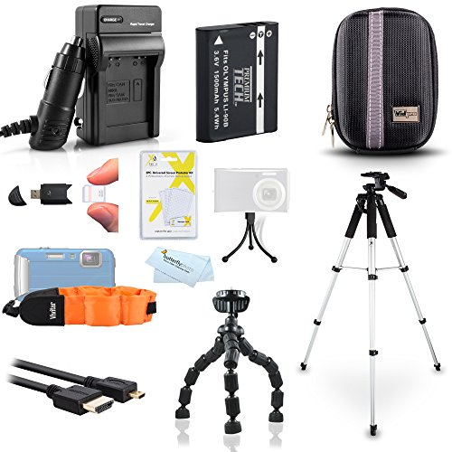 Kit For Olympus TOUGH TG-2 iHS, TG-3, TG-4, TG-5 Waterproof Digital Camera Includes Replacement LI-90B, LI-92B Battery + Charger + Case + FLOAT STRAP + 57 Tripod + More ()