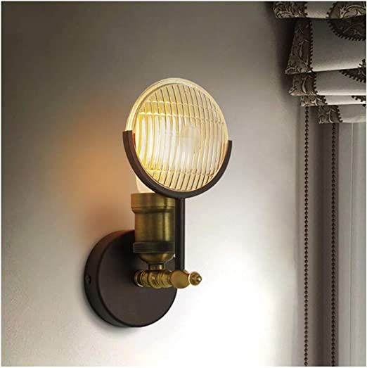 Amazon Com One Light Industrial Wall Sconce Lighting Art Deco Wall Lamp Lighting Striped Glass Lampshade Vintage Rustic Style Wall Lamp Lighting Fixture For Bedroom Hallway Living Room Home Decor Home Kitchen