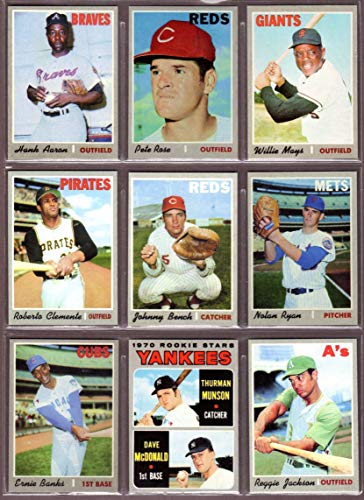 1970 Topps Baseball Reprint (9) Card Lot #1 features Aaron, Rose, Mays, Clemente, Bench, Ryan, Banks, Munson Rookie, Reggie Jackson