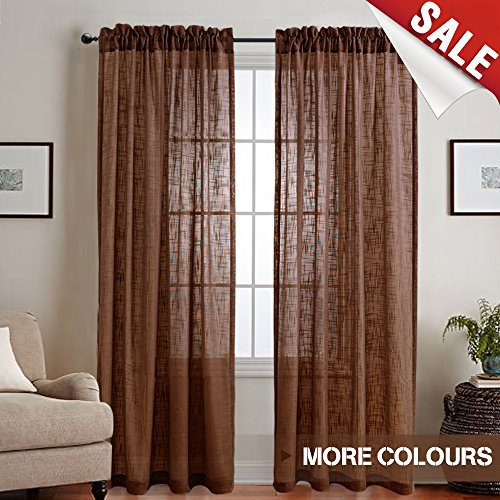 Linen Look Sheer Window Curtains for Living Room 84 inch Length Curtain for Bedroom Drapes Rod Pocket Window Treatment Set,2 Panels, Brown)