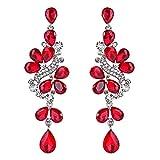 ruby crystal earrings - BriLove Women's Victorian Style Crystal Wedding Bridal Cluster Leaves Teardrop Dangle Earrings Ruby Color Silver-Tone