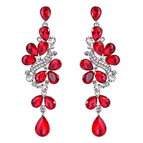 BriLove Women's Victorian Style Crystal Dangle Earrings Wedding Bridal with Cluster Teardrop Leaves Ruby Color Silver-Tone ()