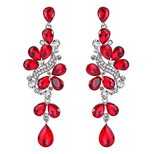 BriLove Wedding Bridal Dangle Earrings for Women Victorian Style Crystal Cluster Teardrop Leaves Dangle Earrings Ruby Color Silver-Tone ()