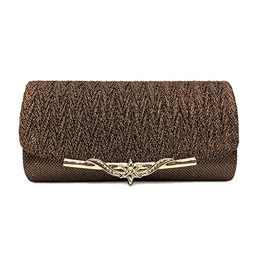 Purse Women Clutch Metallic Chain Wedding for Party Prom Brown Evening Bag with 4Aq7rfwIAx