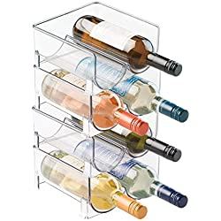 mDesign Plastic Free-Standing Water Bottle and Wine Rack Storage Organizer for Kitchen Countertops, Table Top, Pantry, Fridge - Stackable, Each Rack Holds 2 Bottles - Pack of 4, Clear