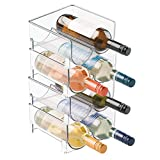 water bottle organizer for fridge - mDesign Plastic Free-Standing Water Bottle and Wine Rack Storage Organizer for Kitchen Countertops, Table Top, Pantry, Fridge - Stackable, Each Rack Holds 2 Bottles - Pack of 4, Clear