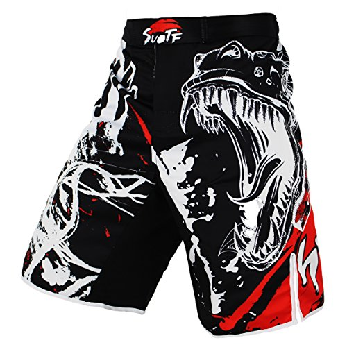 SUOTF Black Ink Style Domineering Screaming Fight MMA Fitness Breathable Shorts Boxing Tiger Muay Thai MMA Shorts (M)