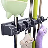 Mop Broom Holder, JISIMI Mop Broom Organizer Holds up to 11 Tools and Broom Holder Wall Mounted for Garage, Garden, Kitchen, Laundry and Offices (Black)