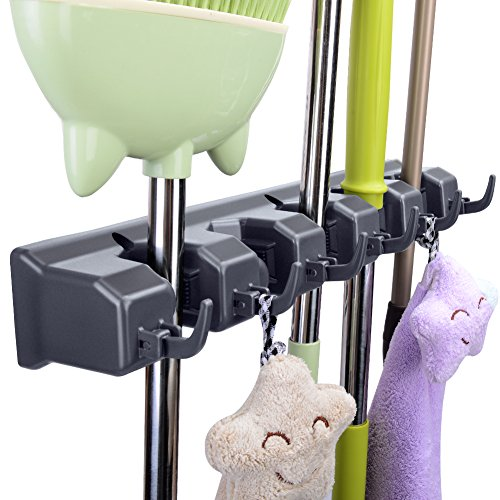 Mop Broom Holder, JISIMI Mop Broom Organizer Holds up to 11 Tools and Broom Holder Wall Mounted for Garage, Garden, Kitchen, Laundry and Offices (Black) (Holder Kitchen Wall)