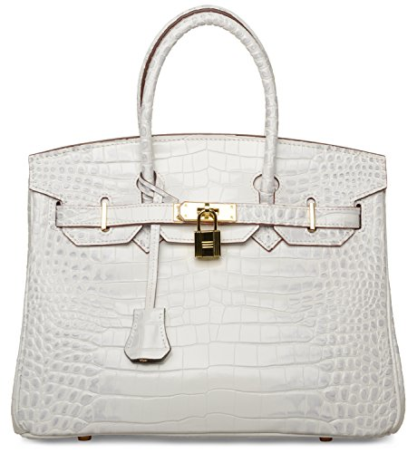 Cherish Kiss Padlock Bag Women Crocodile Leather Top Handle Handbags (35cm, White) by Cherish Kiss
