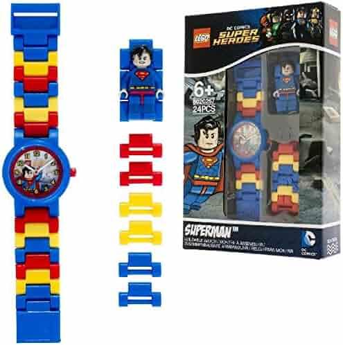 LEGO DC Comics Super Heores Superman Kids Minifigure Link Buildable Watch | blue/red | plastic | 28mm case diameter | analog quartz | boy girl | official