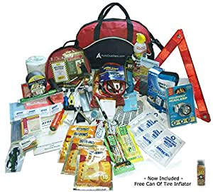 AutoClubHero Car Emergency Kit 185pcs - Deluxe Roadside Emergency Kit with Car Survival Gear - Includes First Aid, Jumper Cables, Fire Extinguisher, Emergency Food, Water, Mylar Blanket & More