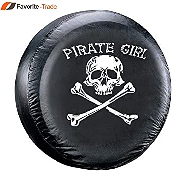 "SPARE TIRE COVER UNIVERSAL 24.5/""-26/"" w// Mechanic Pirate Skull"