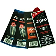 Zippo Gift Set - 4 oz Lighter Fluid 1 Wick Card & 2 Flint Card (12 flints)