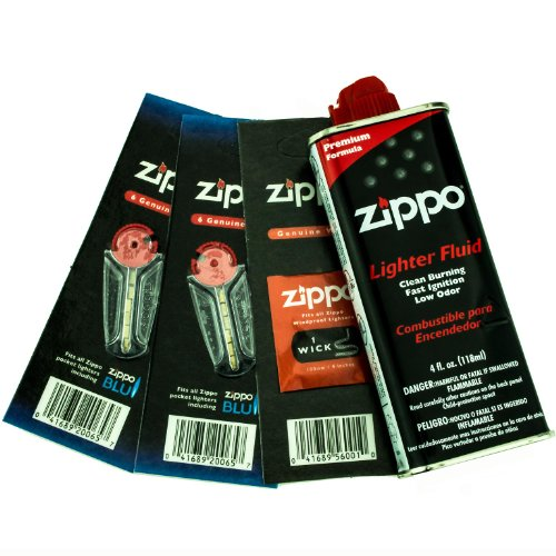 (Zippo Gift Set - 4 oz Lighter Fluid 1 Wick Card & 2 Flint Card (12 flints))