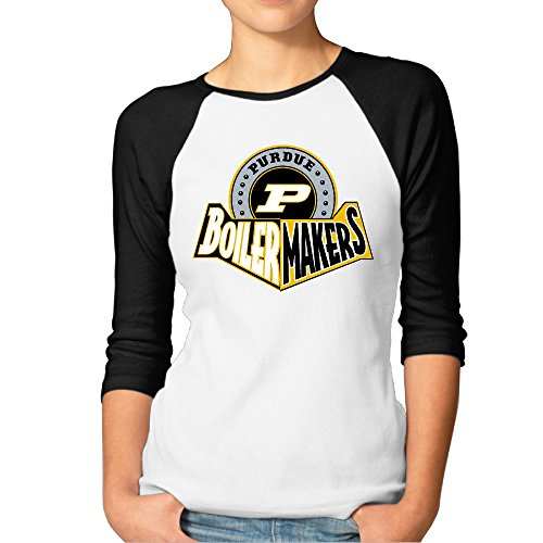 (GUC Women's 3/4 Sleeve T-shirt - Purdue University Boilermakers Black L)