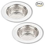 #10: Kitchen Sink Strainer, ADiPROD 2 Pieces Stainless Steel Sink Drains Strainers Basket 3 Sizes Fit for Almost All US Kitchen Sinks (3.55 inch)