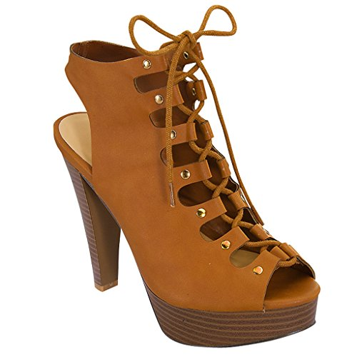 Wedge Sandal High (Women's Strappy Wedge High Heel Ankle Lace Up Sandal T51 Tan 8.5 B(M) US)