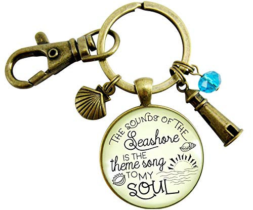 Beach Keychain The Sounds of The Seashore Nautical Ocean Theme Jewelry For Women Rustic Lighthouse Shell Charms ()