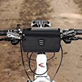 WOTOW Bike Handlebar Bag, Cycling Handlebar Storage Basket Bag Mountain Bicycle Front Frame Bag Pannier Pouch with Biking Transparent Water Resistant Touch Screen Phone Holder for Road MTB Outdoor