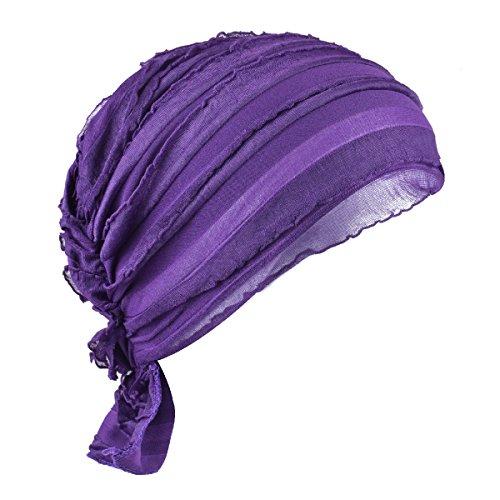 Purple Cancer Cap Women Chemo Beanie Scarf Hat Covering Snood Turban Headwear ()