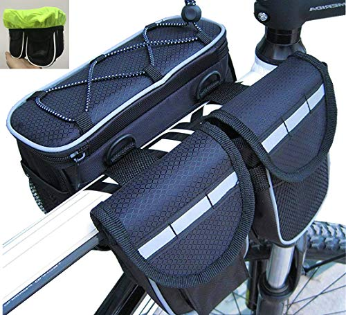 Diniiko Bike Frame Top Tube Pannier Bag with Rainproof Cover for Mountain Road Bicycle