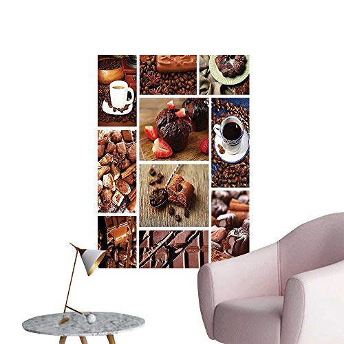 Wall Art Prints and Chocolate Tasty Collage Beans Snacks Muffins Yummy Delicious Sweets Brown Red Blue for Living Room Ready to Stick on Wall,28