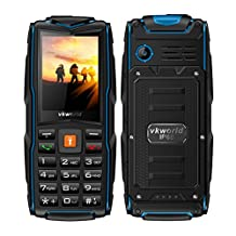 VKworld New Stone V3 Rugged Tough Unlocked Cell Phone, 3000mAh Battery,Waterproof Shockproof and Dustproof (black/blue)