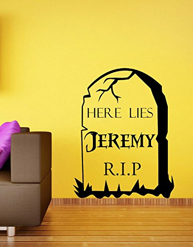 Personalized Halloween Tombstone Vinyl Wall Art Sticker. Mural, Decal. Home, Wall Decor. Living Room, Bedroom, Hallway, Dining Room. -