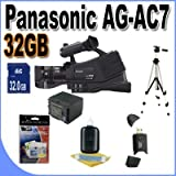 Panasonic AG-AC7 Shoulder Mount AVCHD Camcorder W/32GB SDHC Memory + Extra Extended Life Batteries + Ac/Dc Rapid Charger + Full Size Tripod + Deluxe Case w/Strap + Accessory Saver Bundle!