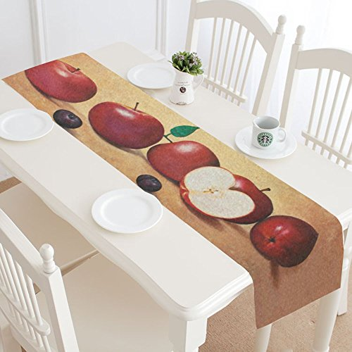 InterestPrint Red Apple Painting Polyester Table Runner Placemat 14 x 72 inch, Vintage Apples Tablecloth for Office Kitchen Dining Wedding Party Home Decor - Apple Placemat