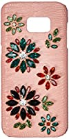 Asmyna Cell Phone Case for Samsung Galaxy S7 Edge - Flowers (Pink Lizard Skin Leather Backing)