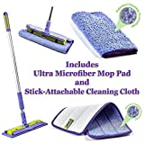 PERSIK Nano-Knockout ULTRA Microfiber Mop - Deep Clean Damp Mop - INCLUDES Telescopic Extension Pole + Microfiber Mop Pads + Stick-Attachable Microfiber Towel - JUST ADD WATER No Detergents Needed