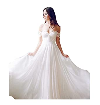 c1d7594d472e0 Lovelybride Off the Shoulder a Line Long Chiffon Bridal Beach Wedding Dress  at Amazon Women's Clothing store: