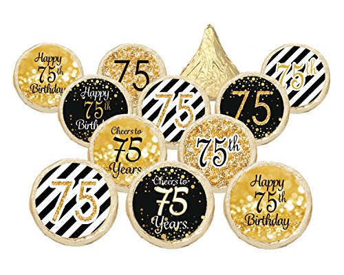 75th Birthday Party Favor Stickers - Gold and Black (Set of 324)
