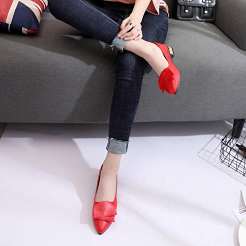 Fheaven Femmes Filles Été Casual Chaussures De Bureau Plat Robe Chaussures Pointues Anti-dérapant Rouge