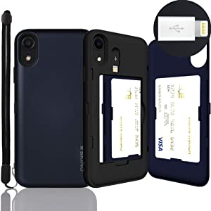 iPhone XR Case, SKINU [XR Wallet Strap] XR Charger Dual Layer Hidden Credit Holder Card Case with Wrist Strap Inner USB to 8 Pin Adapter and Mirror for iPhone XR (2018) - Metal Slate