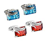 WaMLFac Unique Design Stylish Modern Luxury Crystal Blue Stone Cufflinks for Shirt Wedding Business (2 Pairs)