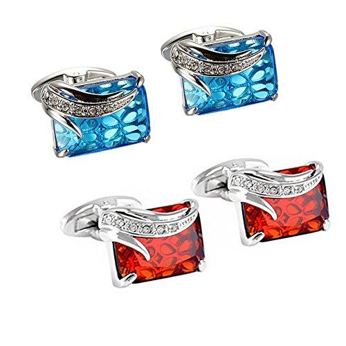 WaMLFac Unique Design Stylish Modern Luxury Crystal Blue Stone Cufflinks for Shirt Wedding Business (2 Pairs) by WaMLFac