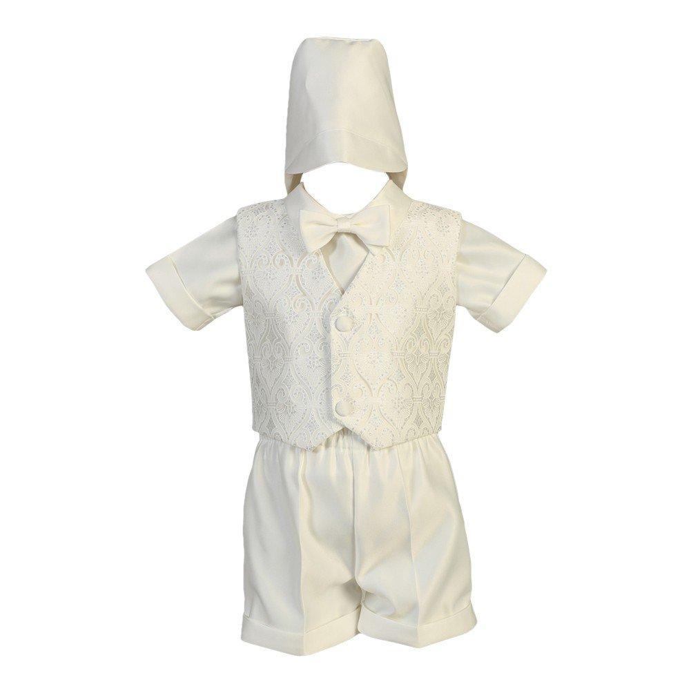fc21a3cd090b9f Amazon.com  Lito Baby Boys White Glittered Tulle Vest Satin Shirt Shorts Baptism  Set 3-24M  Clothing