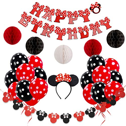 JOYMEMO Minnie Mouse Birthday Party Decorations Red and Black for Girls Happy Birthday Banner, Garland, Headband, and Polka Dot Balloons]()