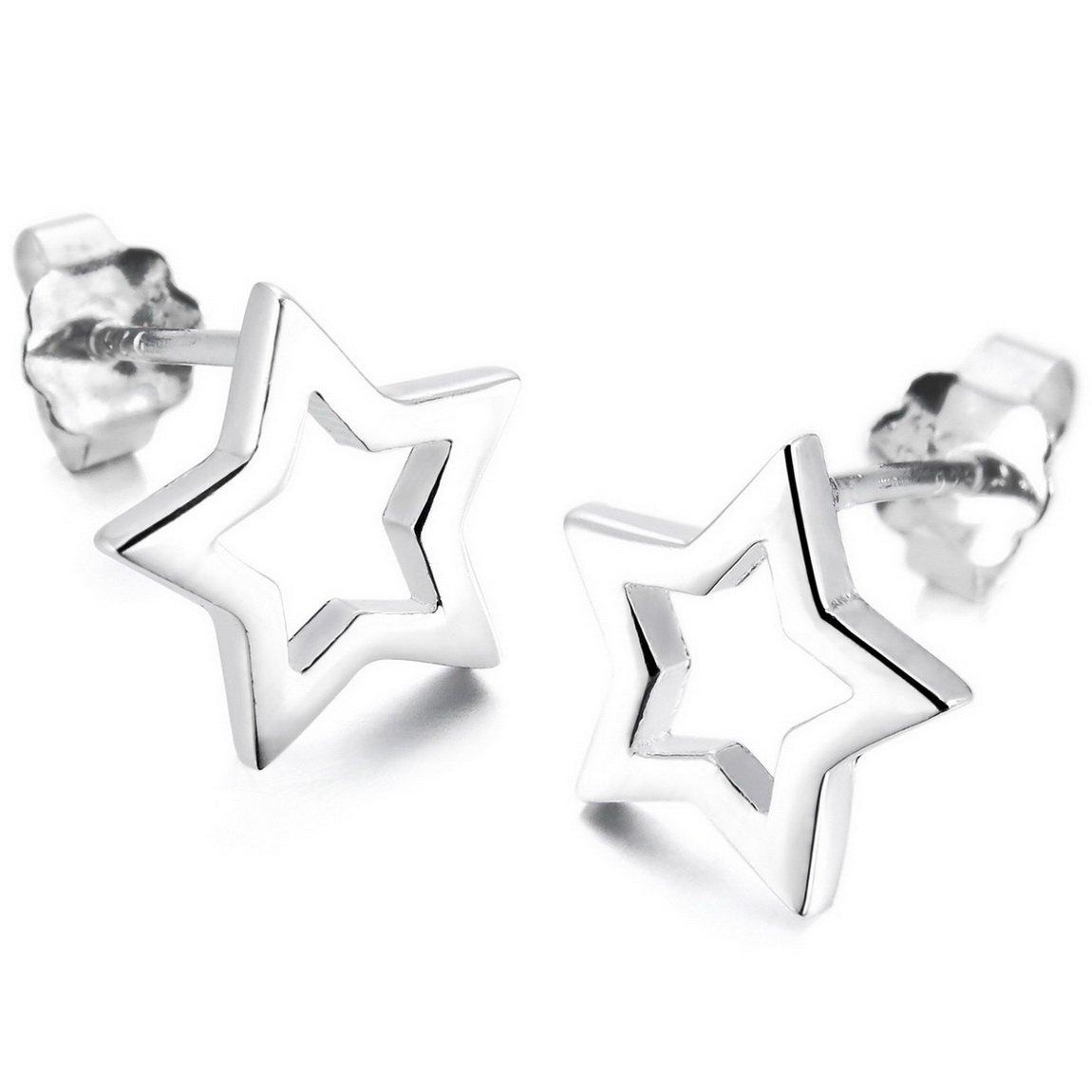 INBLUE Women's 925 Sterling Silver Stud Earrings Pentagram Pentacle INBLUE Jewelry mnp247